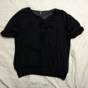 Torrid ruffled sheer rolled sleeve black blouse